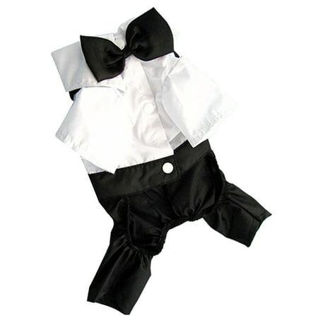 Girl12Queen Pet Dog Cat Clothes Prince Tuxedo Bow Tie Suit Puppy Costume Jumpsuit Coat - Pleather Cat Suit