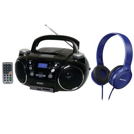 Jensen Cd750 Portable Am Fm Stereo Cd  Mp3  Player W  Blue On Ear Headphone