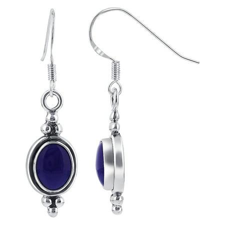 Lapis Twisted Earrings (Gem Avenue 925 Sterling Silver Oval Blue Lapis French Hook Drop Earrings )