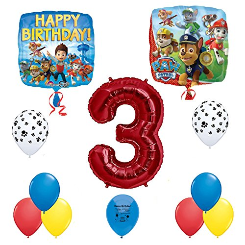 Paw Patrol Party Supplies Happy Third 3rd Birthday Party Balloons Decoration Set