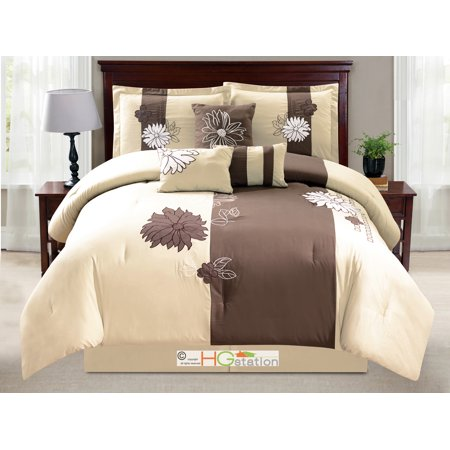 7 Pc Flower Blossom Applique Embroidery Comforter Set