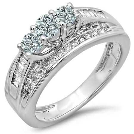 Dazzlingrock Collection 1.15 Carat (ctw) 14k Round & Baguette Diamond 3 Stone Ladies Bridal Engagement Ring, White Gold, Size 8.5
