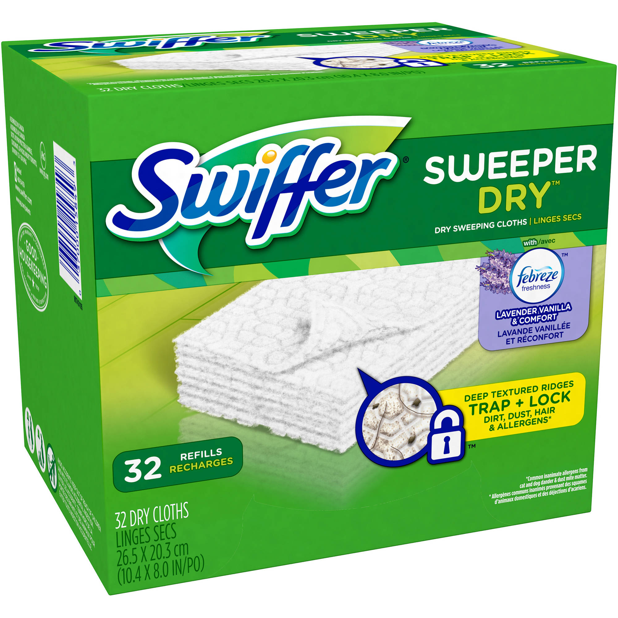 Swiffer Sweeper Dry Sweeping Cloths Refills with Febreze Lavender Vanilla & Comfort Scent, 32 count