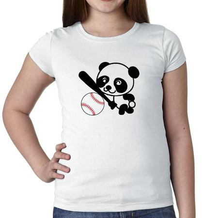 Panda Baseball - Cute Happy Sports Panda Bear Girl's Cotton Youth T-Shirt ()