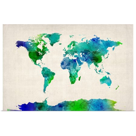 Watercolor Map Of The World (Great BIG Canvas   Rolled Michael Tompsett Poster Print entitled Watercolor Map of the World, Green and)