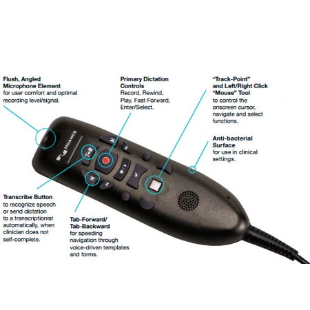 Nuance DP-0POWM3N9-DG-B PowerMic III Handheld USB Dictation Microphone with Cradle and 9 Foot Cord for Dragon Professional Group and Dragon Legal Group Only
