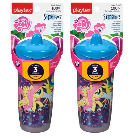 Playtex My Little Pony Stage 3, 12M+, Sipsters Insulated Spill Proof Spout Cup, 9 Oz (Colors May Vary) (Pack of 2) + FREE Eyebrow Trimmer