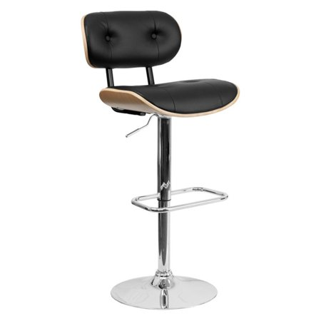Flash Furniture Bentwood Adjustable Height Bar Stool with Button Tufted Black Vinyl Upholstery