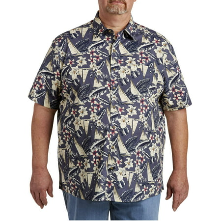Big Tall Sport Coats - Men's Big & Tall Nautical Printed Short Sleeve Sport Shirt, up to size 7XL