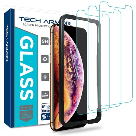 Tech Armor Apple iPhone Xs Max Ballistic Glass Screen Protector [3-Pack] Case-Friendly Tempered Glass, 3D Touch Accurate Designed for New 2018 Apple iPhone Xs