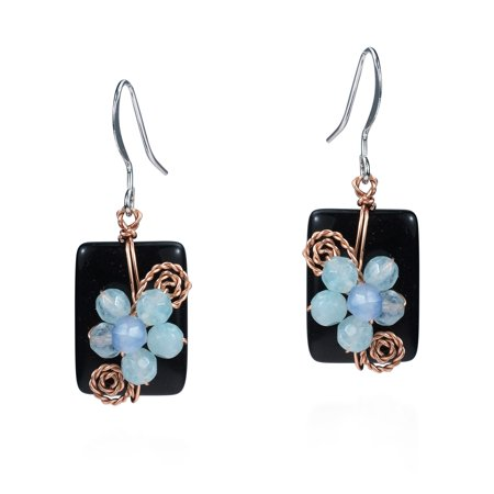 Blissful Floral Onyx and Faceted Quartz Earrings