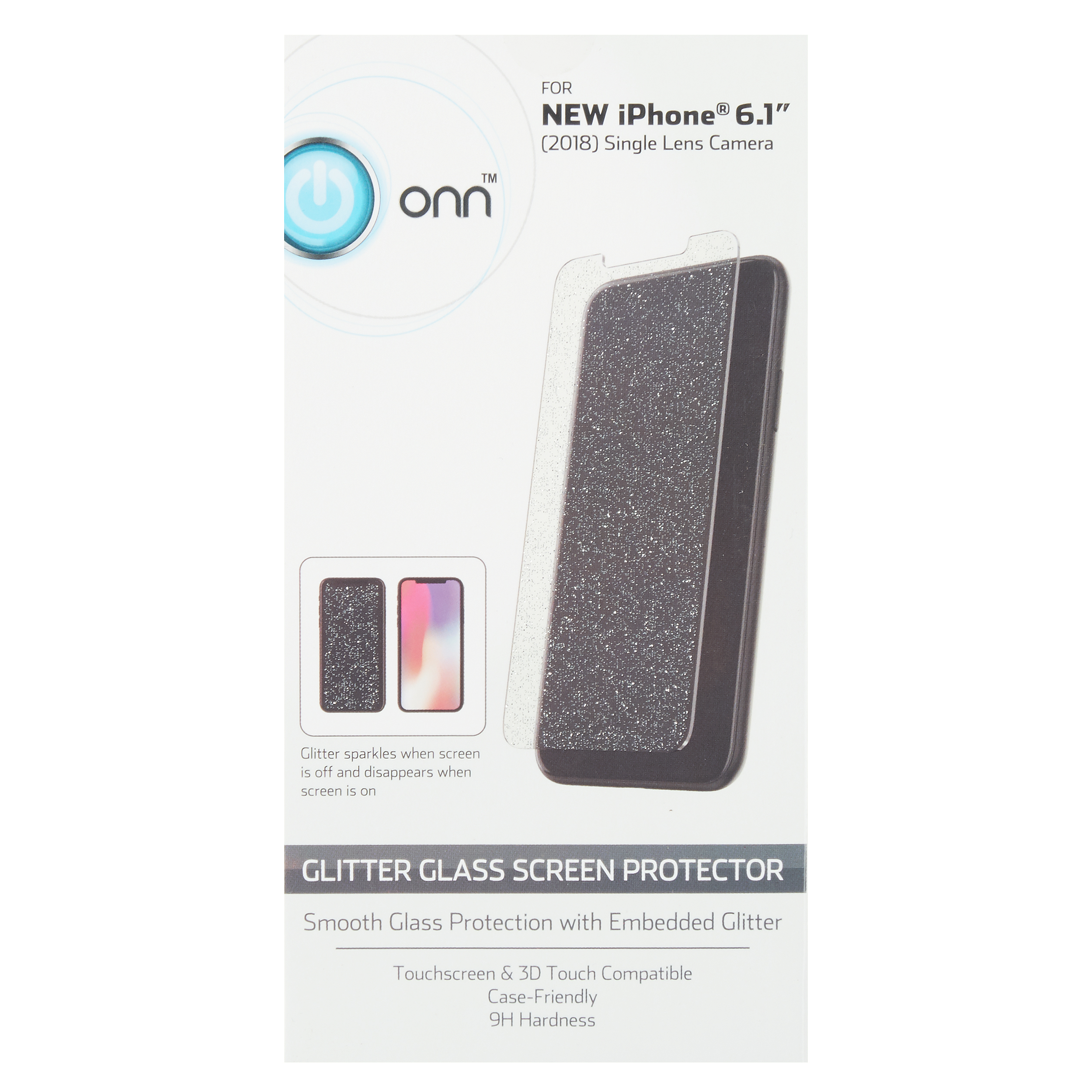 ONN Glitter Glass Screen Protector for iPhone XR
