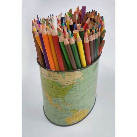 Canvas Print Colored Pencils Pencil Holder Colour Map School Stretched Canvas 10 x (Tank Map Holder)