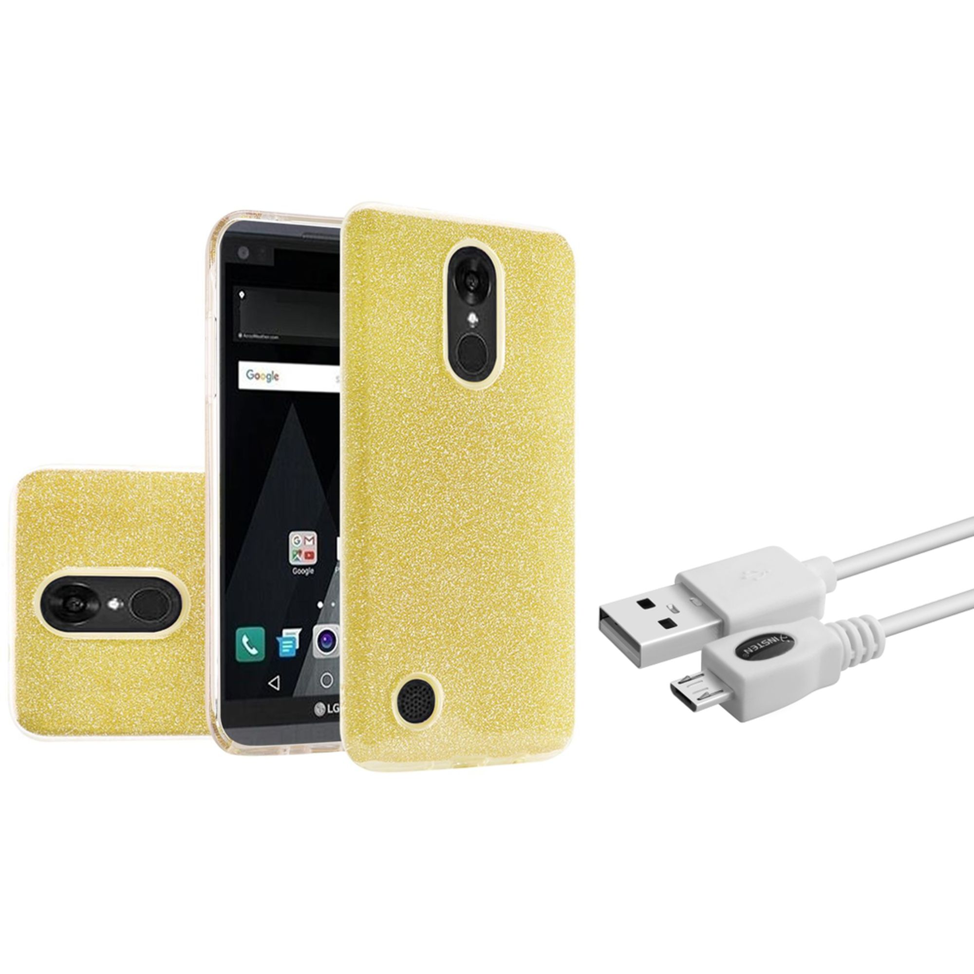 Insten Hard Hybrid Glitter TPU Case For LG Aristo / LV3 - Gold (+ Micro USB Cable)