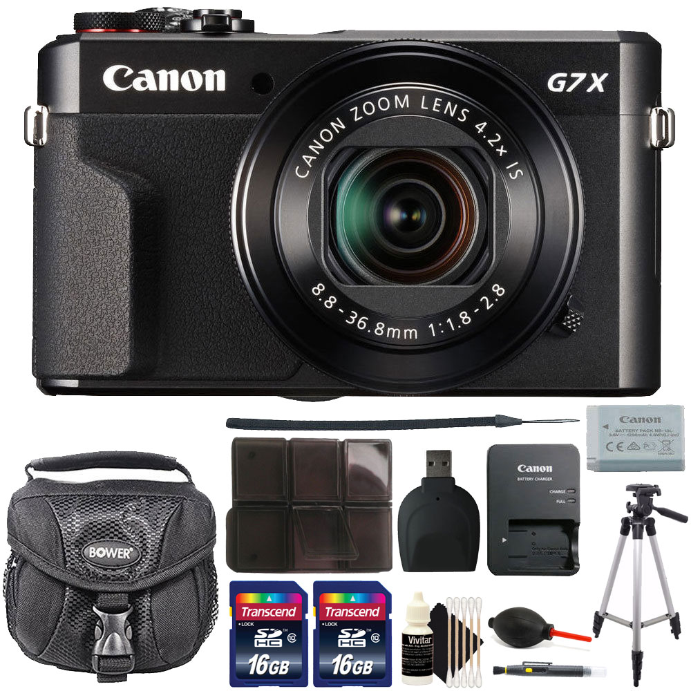 Canon G7X Mark II PowerShot 20.1MP BLACK Digital Camera with 32GB Accessory Kit Black