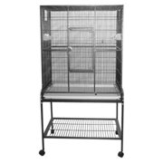 "A ; E Cage Company Wrought Iron Flight Bird Cage ; Stand, 31"" x 22"" x 59"", Black"