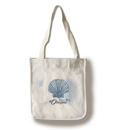 Depoe Bay, Oregon - Scallop Shell - Blue - Coastal Icon - Lantern Press Artwork (100% Cotton Tote Bag - Reusable)