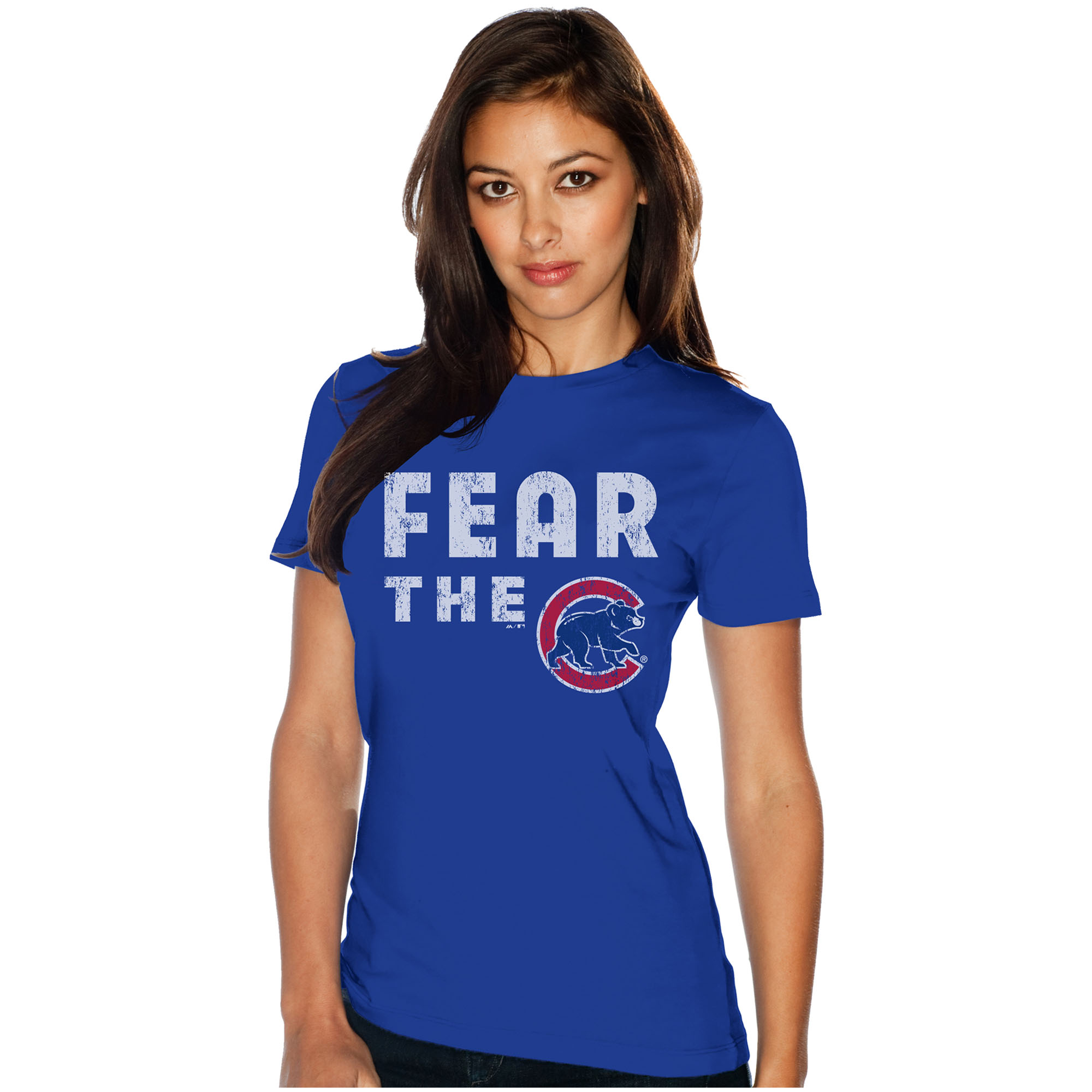 Chicago Cubs Majestic Threads Women's Fear The Team Soft Hand T-Shirt - Royal