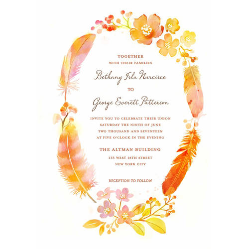 Watercolor Feather Standard Wedding Invitation