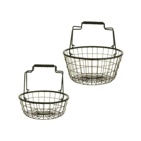"Raz Imports Set of 2 Rustic Weathered Hanging Kitchen Storage Baskets 12"" - Gray/Black"