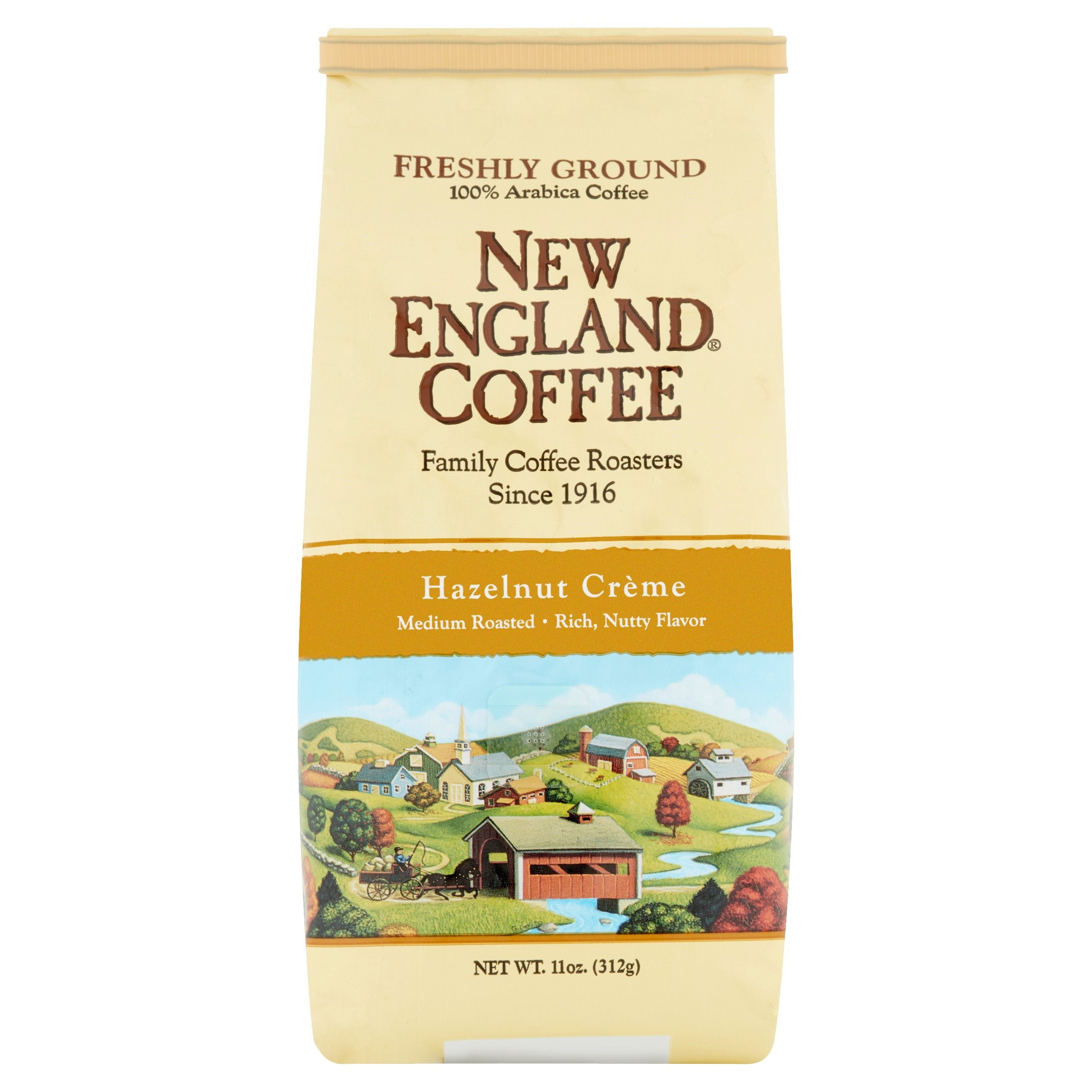New England Coffee Ground Coffee, Hazelnut Crème, 11 Oz