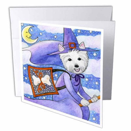 3dRose West Highland Terrier Westie Westie in costume witch Halloween Halloween Westie dog, Greeting Cards, 6 x 6 inches, set of - Highlands Halloween 2017
