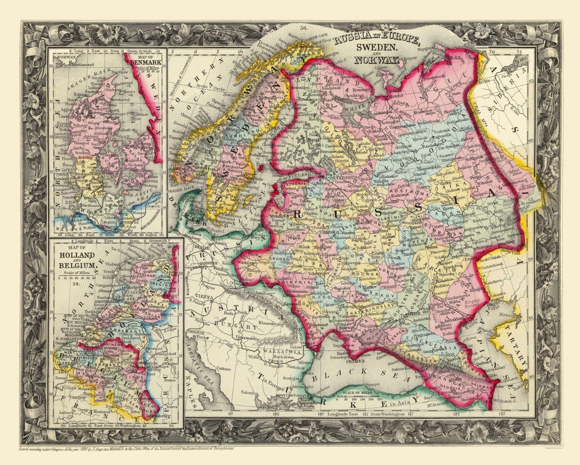 International Map Russia In Europe Sweden Mitchell 1860 28 74 X 23 Walmart Com Walmart Com