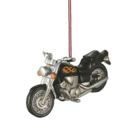 black motorcycle with flames resin hanging christmas ornament Palm Resin Ornament