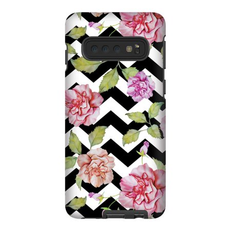 Screenflair- Samsung Galaxy S10 Designer Drop Tested Protective Case - Zig Zag Roses Design