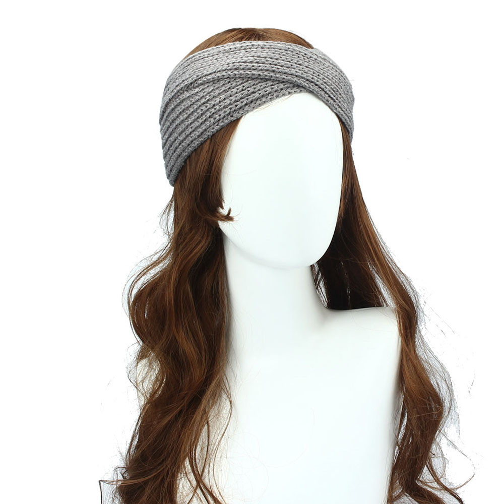 Women Winter Ear Warmer Headwrap Double Color Headband Knit Flower Hairband