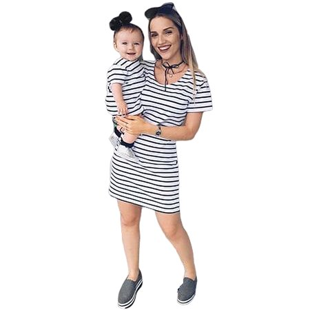 Parent-Child Shirt Dress Family Clothes Outfits Mommy and Me Matching Dress Short Sleeve Striped Summer Dress