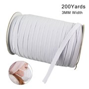 200 Yards Length 0.12 Inch Width Braided Elastic Band Cord Knit Band for Sewing DIY Mask Bedspread