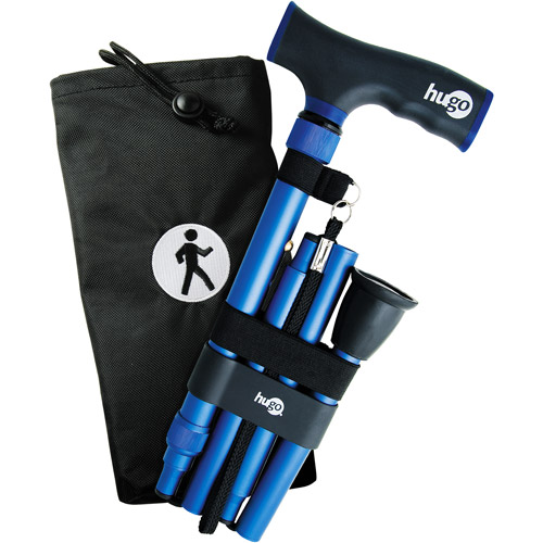 Hugo Elite Adjustable Folding Cane with Black Comfort Grip Handle, Blue