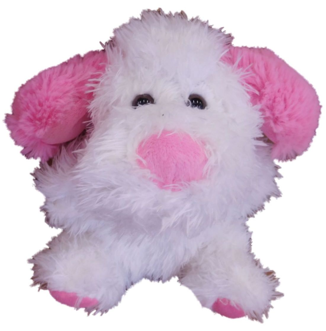 Celebrate Plush Puppy Dog Stuffed Animal 6 Whte With Pink Ears Pup