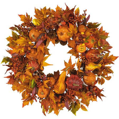 Nearly Natural 28  Harvest Wreath In Fall