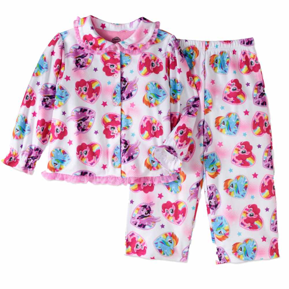 Toddler Girls White Flannel My Little Pony Pajamas Rainbow Dash Sleep Set 4T
