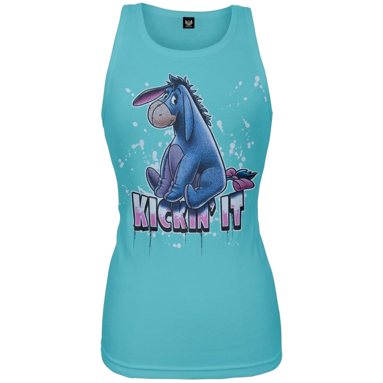 Eeyore - Kickin It Aqua Juniors Tank Top