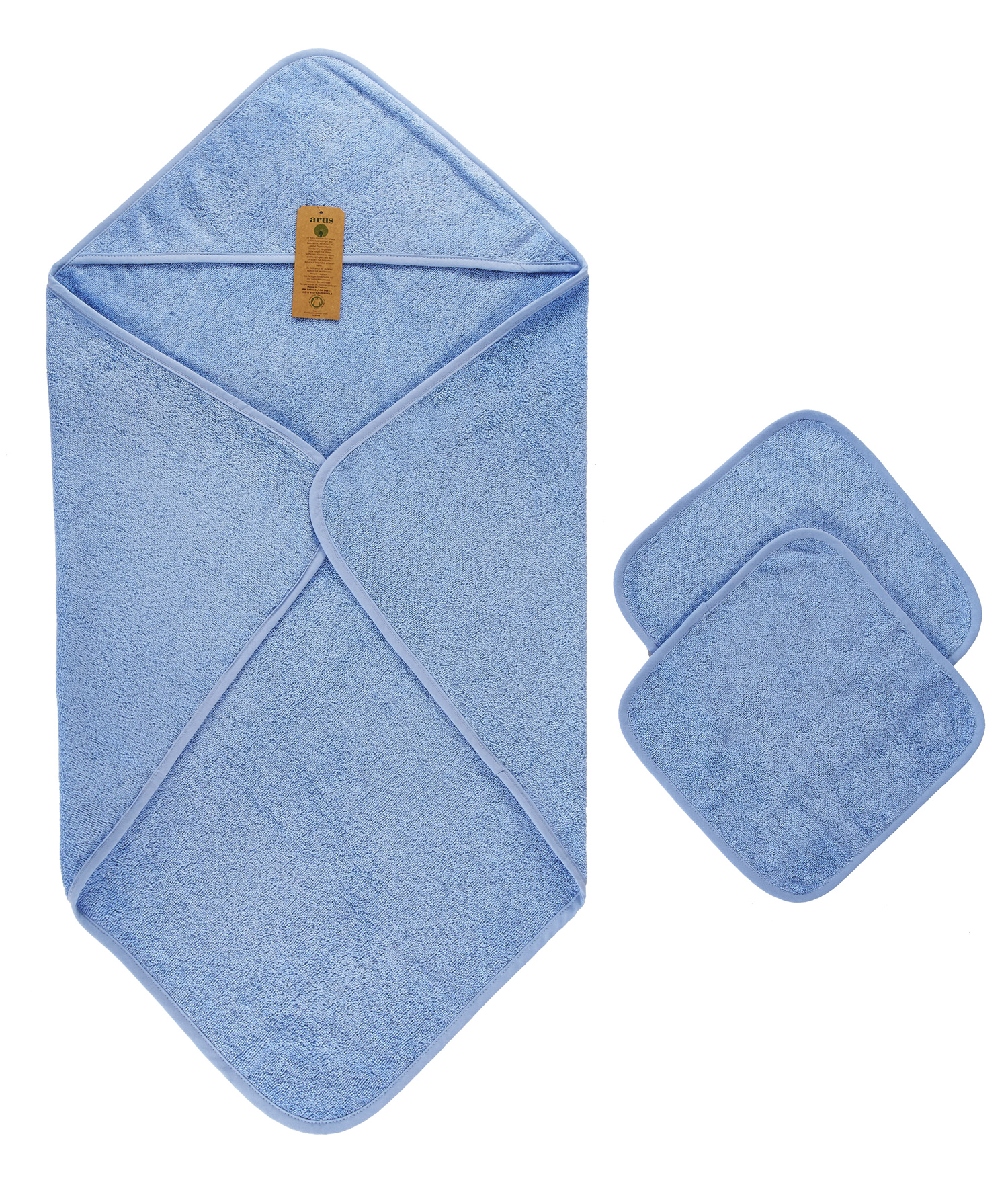 Baby Organic Turkish Cotton Hooded Towel and Washcloth Set by Arus
