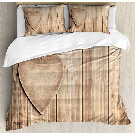 Valentines Day Duvet Cover Set, Rustic Heart over Wooden Planks Background Lovers Corner Romantic Celebration Print, Decorative Bedding Set with Pillow Shams, Tan, by Ambesonne ()