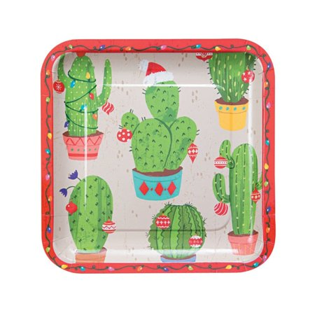 Christmas Cactus Square Paper Dinner - Cactus Dinner