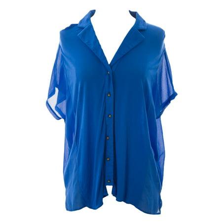 August Silk Women's Button Down Hi-Low Hem Blouse