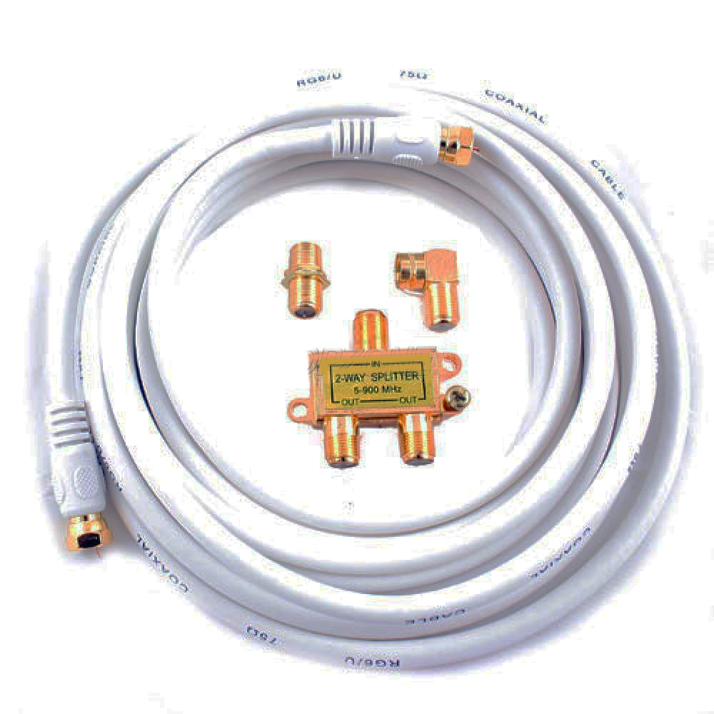Video Hook-up Kit 4pc Includes 12ft Coax Cable, Splitter, Female F Connector, R Angle F Connector