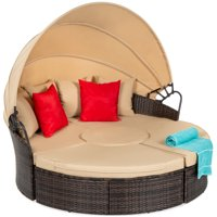 Best Choice Products 5-Piece Modular Patio Wicker Daybed Sectional w/ Adjustable Seats, Retractable Canopy, Cover