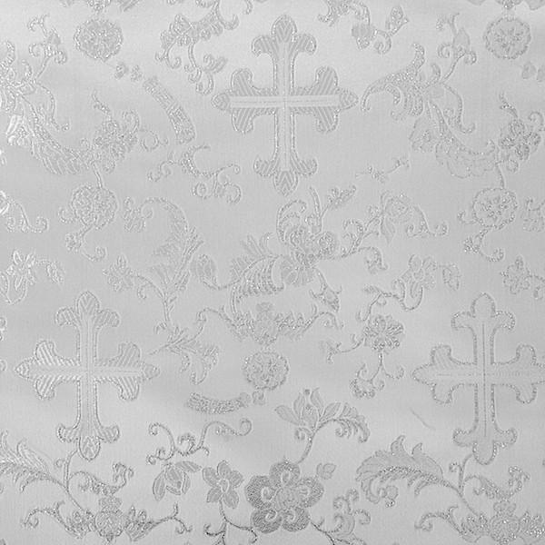 """Metallic Church Cross Brocade Fabric 60"""" Wide 100% Polyester Sold By The Yard Many Colors (White / Silver)"""