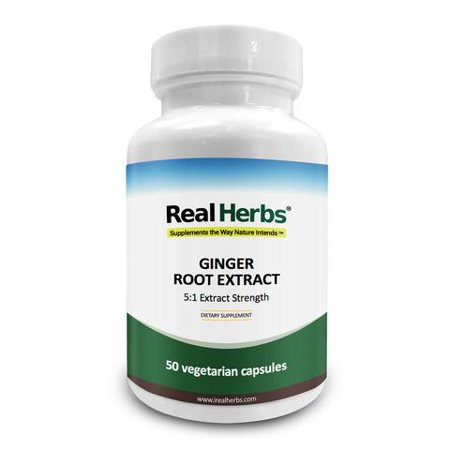 Real Herbs Ginger Root Extract - Derived from 3500mg of Ginger Root with 5:1 Extract Strength - Reduces Nausea & Gastric Discomfort, Anti-Inflammatory - 50 Vegetarian (The Best Anti Inflammatory Herbs)