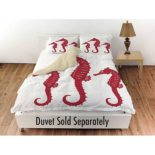 "Thumbprintz Nautical Nonsense Red White Seahorses Standard Sham, 30"" x 22"""