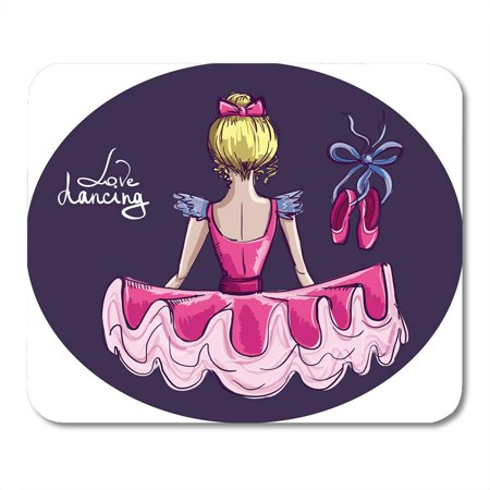 KDAGR Dancer Pink Ballet Ballerina Beautiful Hand Drawing Love Dancing Pointe Shoes White Dance Princess Mousepad Mouse Pad Mouse Mat 9x10 (Be A Ballerina Learn To Dance Mat)