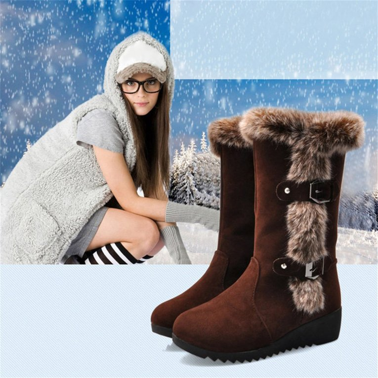 Brown 2017 Women Casual Snow Boots Fur Warm Winter Round Toe Knee High Boots Wedge Heel Anti Slip Height Increase Platform Shoes