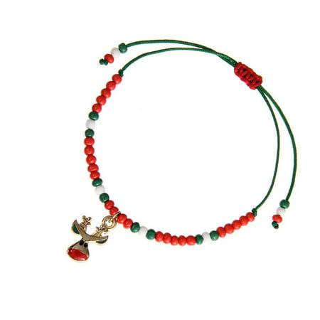 Ustyle Cute Drop Oil Christmas Pendant Bracelet Xmas Decor Home Happy New Year Party Ornaments Women Hand-woven Bangle - image 9 de 9