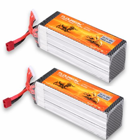 2 X Floureon 6S 22.2V 4500mAh 45C with T Plug LiPo Batry Pack for RC Evader BX Car, RC Truck, RC Truggy RC Airplane UAV Drone (Lipo Receiver Pack)